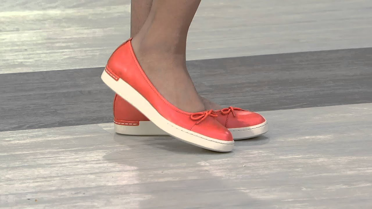 346e05393c7fc Clarks Artisan Leather Slip-ons with Bow Accent - Cordella Alto on QVC -  YouTube