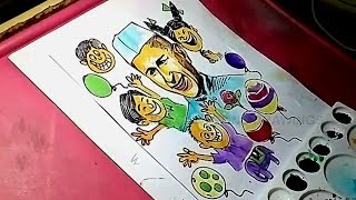 How to Draw Jawaharlal Nehru with Chidrens Drawing for Kids