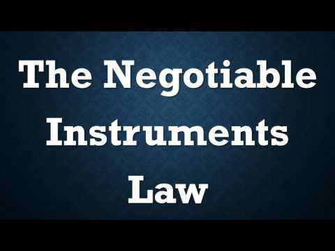 Negotiable Instruments Law: Chapter I-VIII