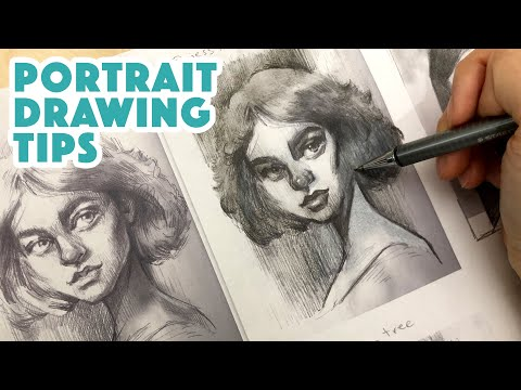 I draw over my students' works! TIPS for portrait drawing!