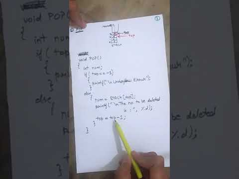 Stack POP operation and Algorithm ( Data Structure and Algorithm) for RTU in HINDI & ENGLISH