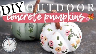 10 MINUTE CONCRETE PUMPKINS 🍁 outdoor fall decor 🍁