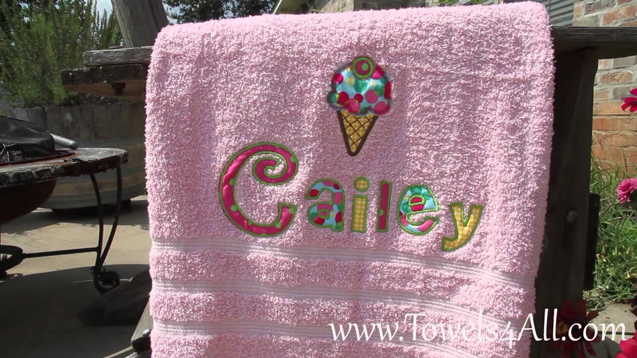 Ice Cream Cherry Applique Letters On Colored Bath Towel  Video Demo