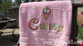 Baixar Ice Cream Cherry Applique Letters on Colored Bath Towel - video demo