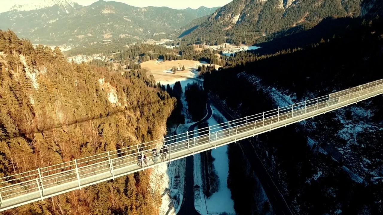 Highline 20 Longest Suspension Bridge in a world located in Austria Alps