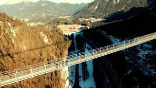 Highline 179 Longest Suspension Bridge in a world located in Austria Alps