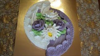 Торт с цветами Украшаем торт белково заварным кремом Хризантема с крема Cake decoration