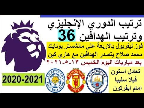 ترتيب الدوري الانجليزي وترتيب الهدافين الجولة 36 الخميس 13-5-2021 - فوز ليفربول علي مان يونايتد