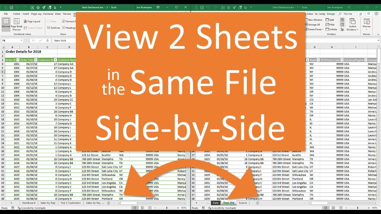View Two Sheets Side-by-Side in the Same Workbook - Excel Campus