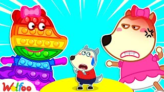 Wolfoo!!! Lucy turns into Pop It - Wolfoo Plays Pop It Challenge with His Sister   Wolfoo Channel
