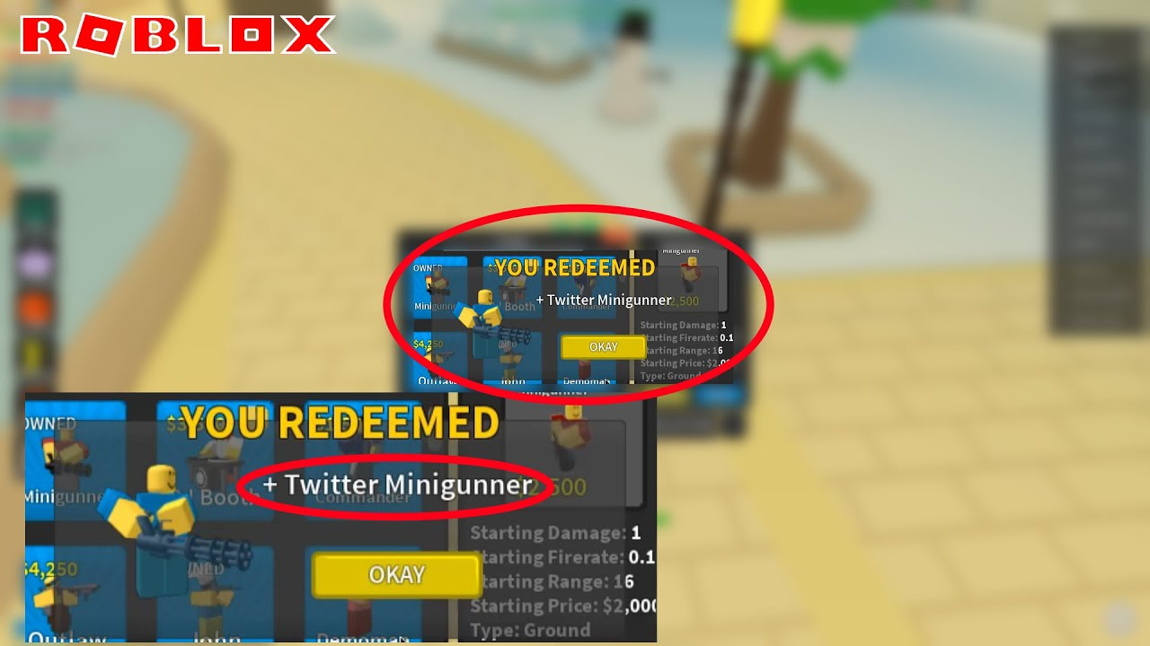 New Free Code How To Get Twitter Minigunner Skin Roblox Tower