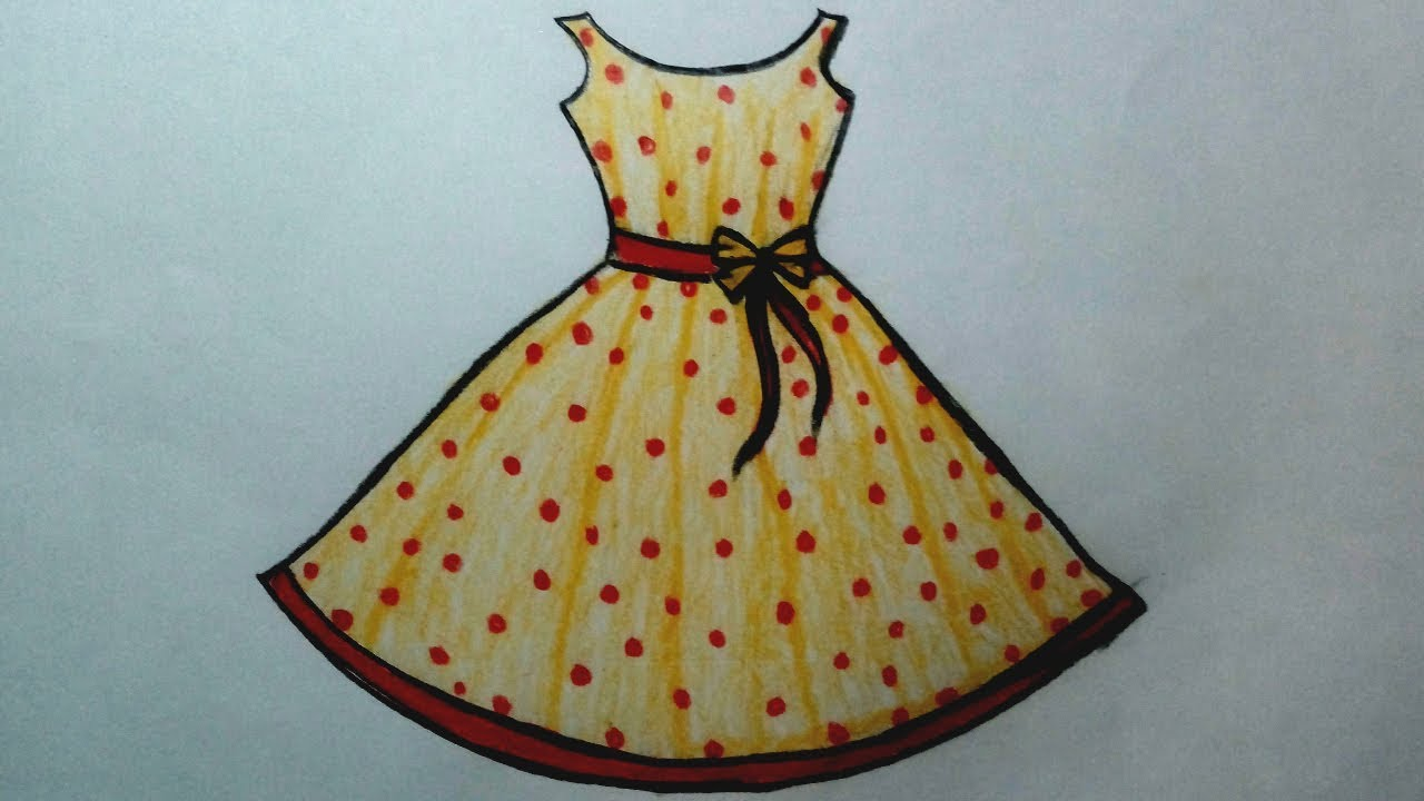 How to draw a dress design easy for kids , Dresses Drawing step by step