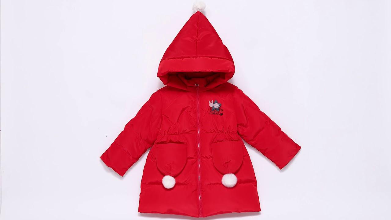 [VIDEO] - Stylish Hooded Cute Down Long Sleeve Winter Kids Heavy Best Warm Jackets For Girls 19426038 2