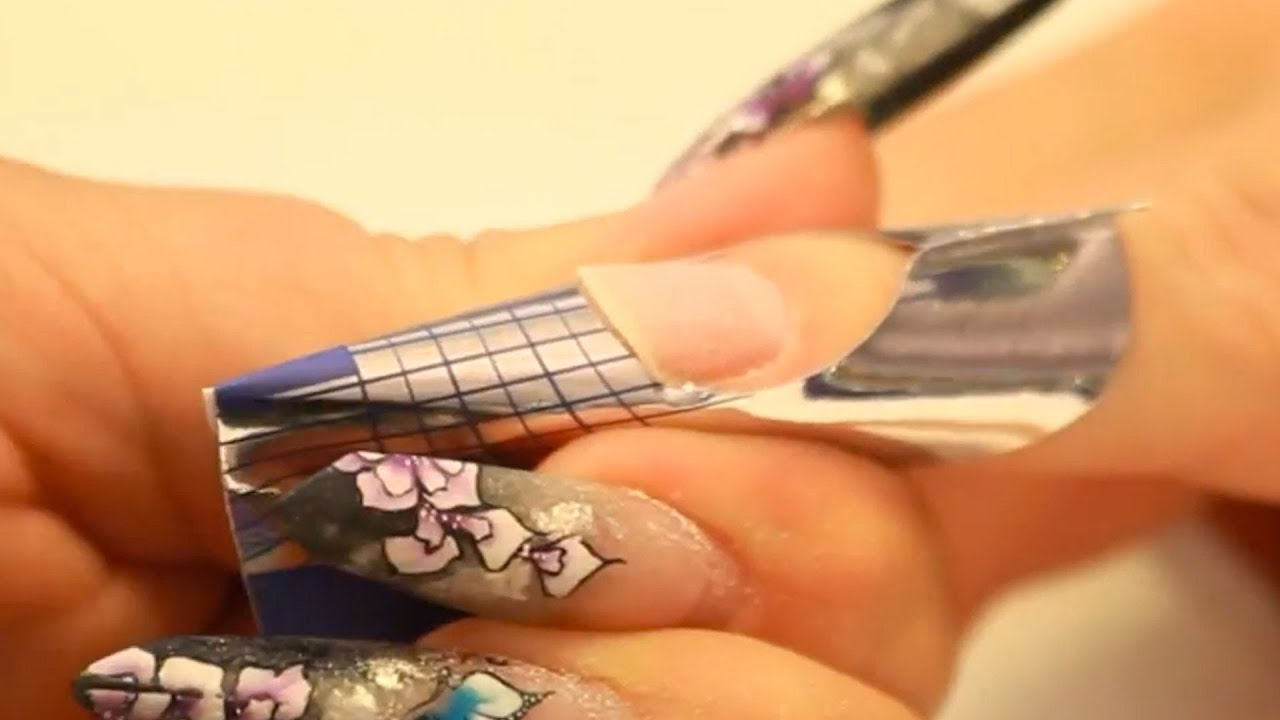 Apply nail forms: Square, Stiletto and edge shaped nails Tutorial ...