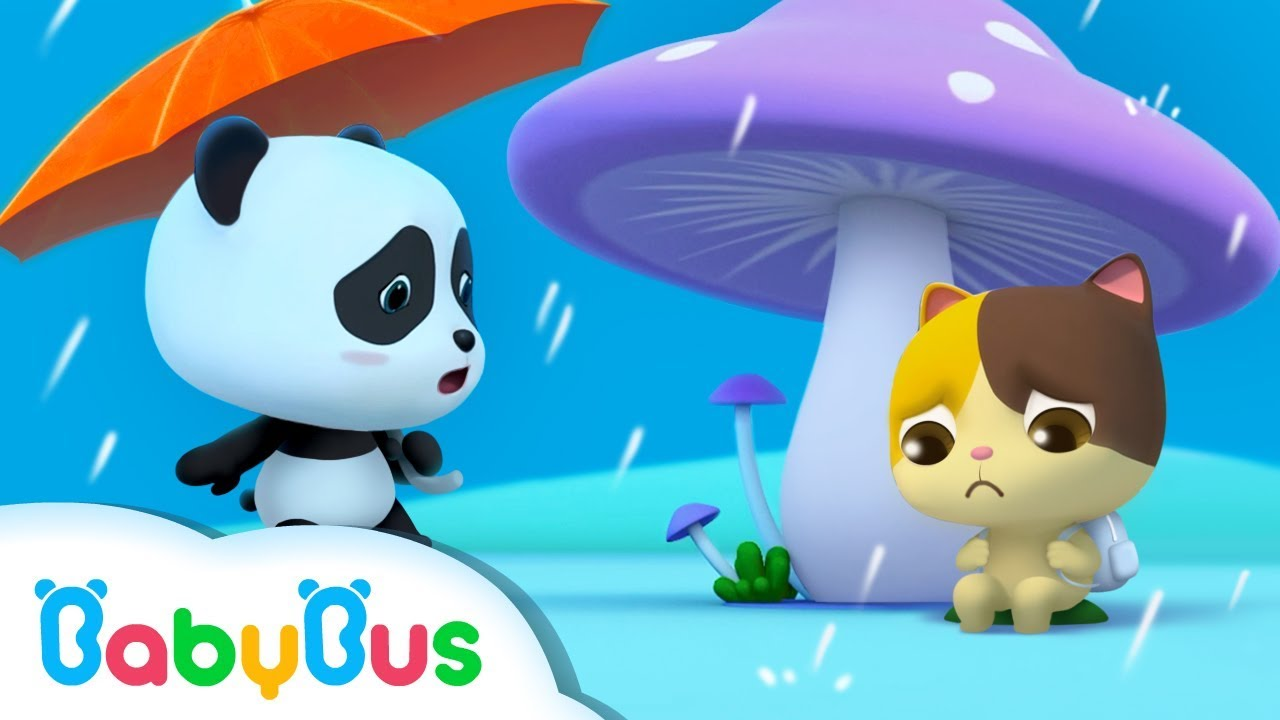 Baby Panda's Umbrella   Baby Kitten Looks for Shelter From Rain   BabyBus Cartoon