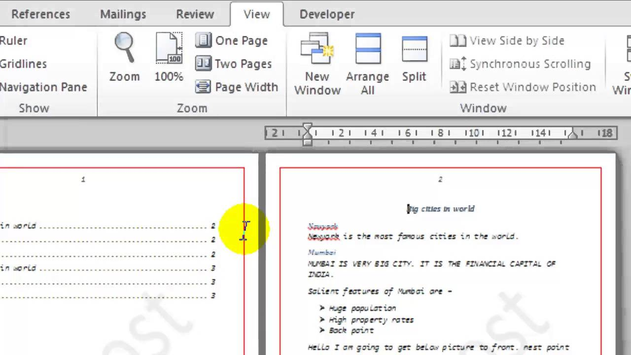 how to change microsoft word view to one page