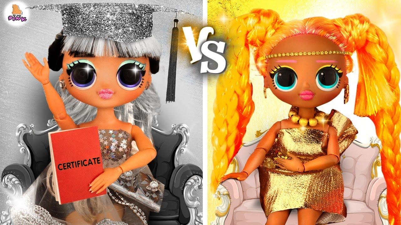Gold vs Silver LOL OMG Surprise Dolls / DIY Color Challenge