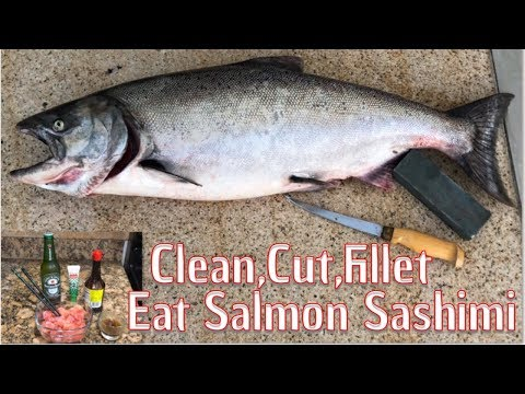 Clean,Cut,Fillet Eat Salmon Sashimi