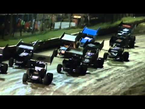 creek county speedway heat and feature may 10 2014, feature close finish camera woman little shakey