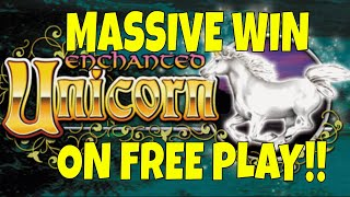 HANDPAY TIME!!! I GOT THE DREAM HIT ON ENCHANTED UNICORN SLOT MACHINE ON FREE PLAY!! AT SAN MANUEL