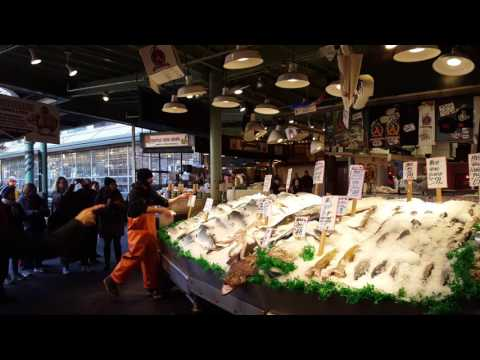 Fish Throwing At Pike Place Market -- Seattle, Washington