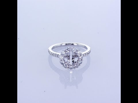 0.80CT 18KT WHITE GOLD ROUND HALO DIAMOND ENGAGEMENT RING SETTING