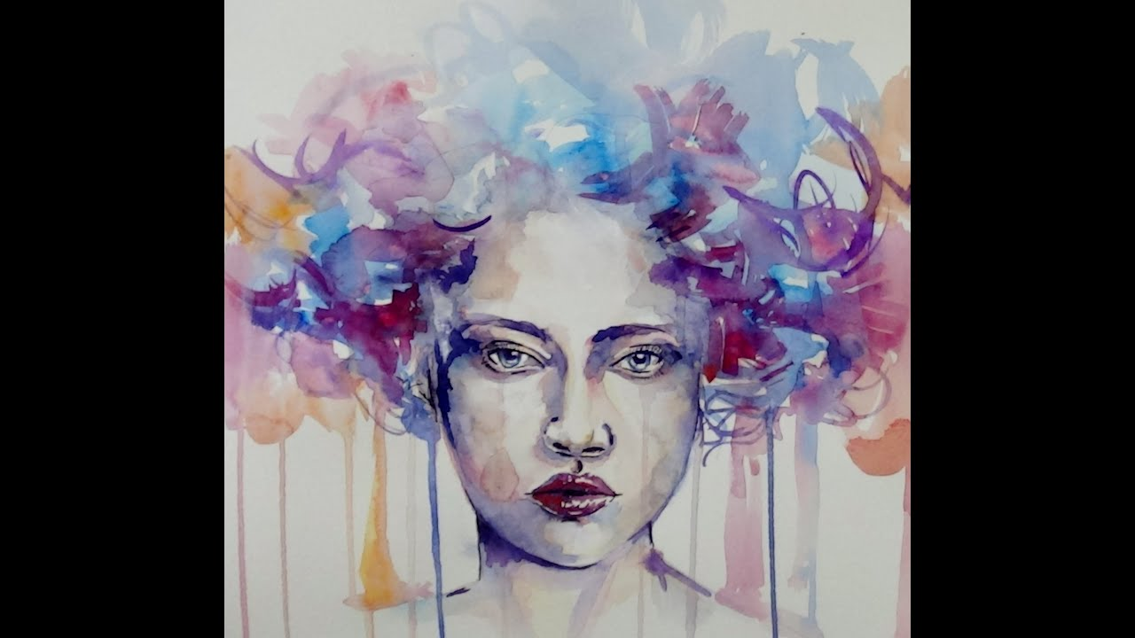 Painting portrait-speed  painting - Watercolor