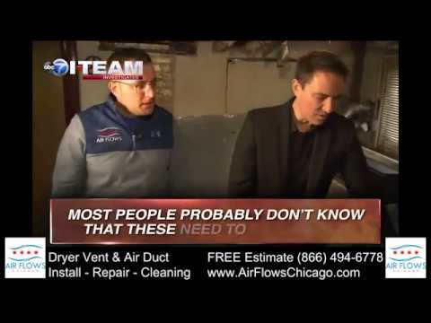 Dryer vent cleaning on News Chicago ABC7 | Air Flows Chicago