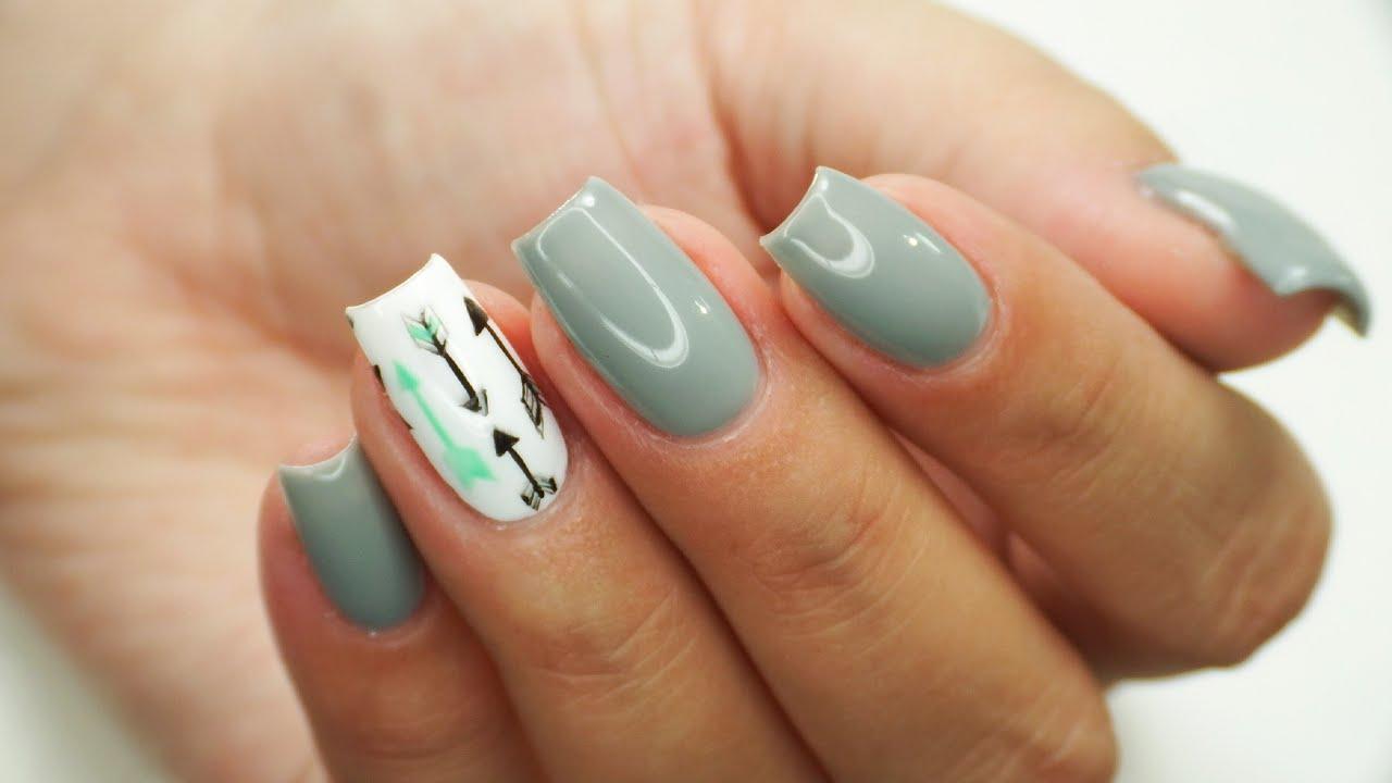 Arrow nails art Tutorial / Claresa Grey Mouse 100, Green Horse 305 ...