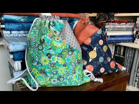 Drawstring Bag with Diagonal Pockets