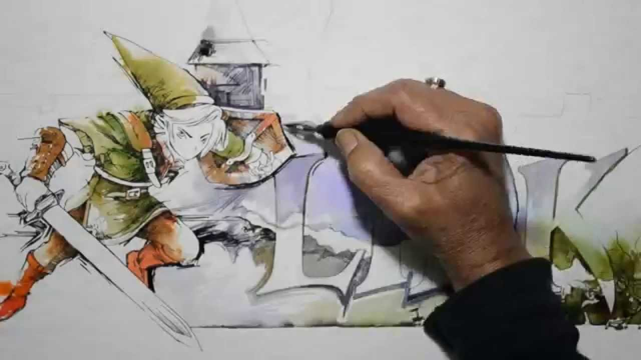 Game with watercolor - Video Game Watercolors 2 Link Painting Legend Of Zelda