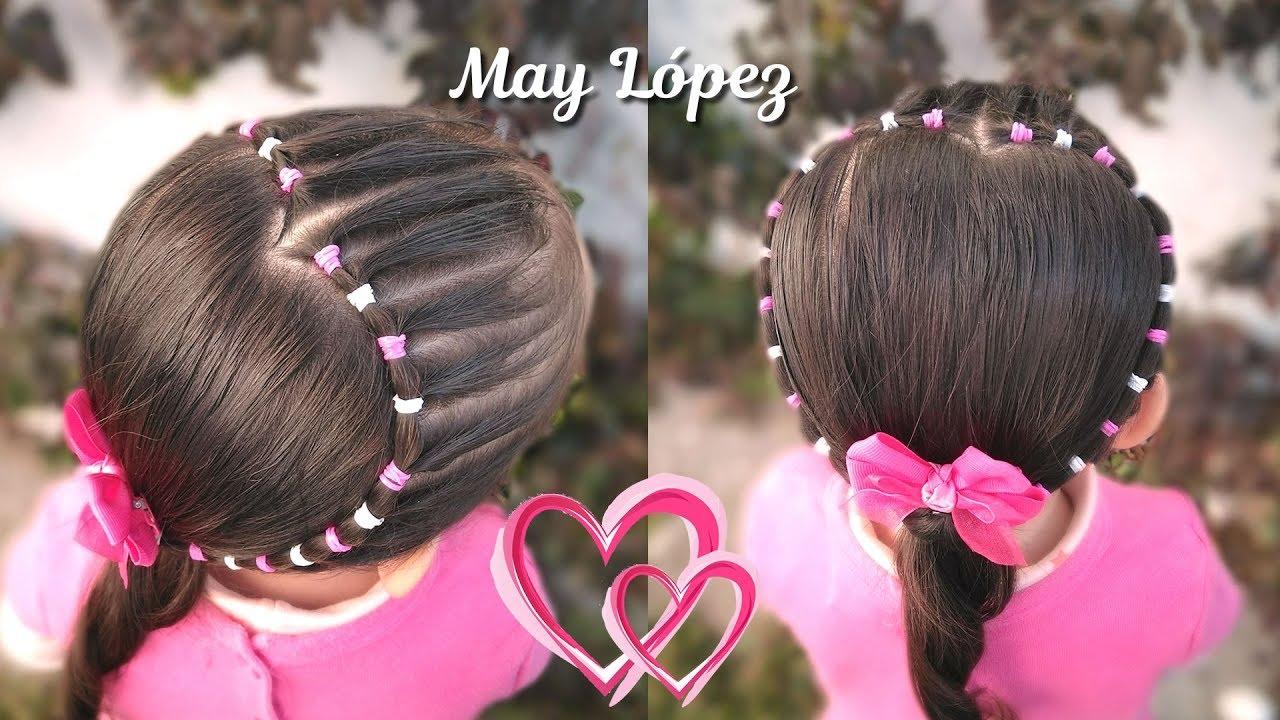 Hermoso Peinado De Corazon Con Ligas Para Ninas Peinados De San