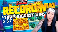 TOP 5 BIGGEST SLOTS WINS OF THE WEEK | CASINO GAMES | RECORD WIN | 8762x IN THE RAZOR SHARK SLOT