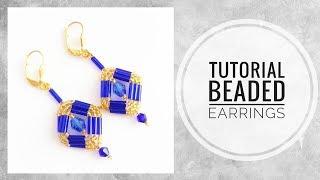 #МК -  Серьги из бисера с применением стекляруса   Bead earrings using bugle beads