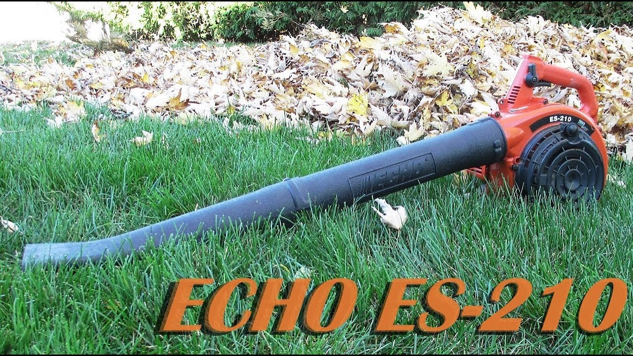 medium resolution of echo es 210 leaf blower cold start and blowing leaves