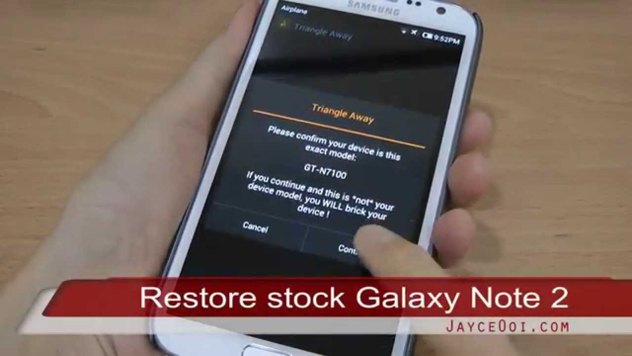 How to restore stock firmware on Samsung Galaxy Note 2?