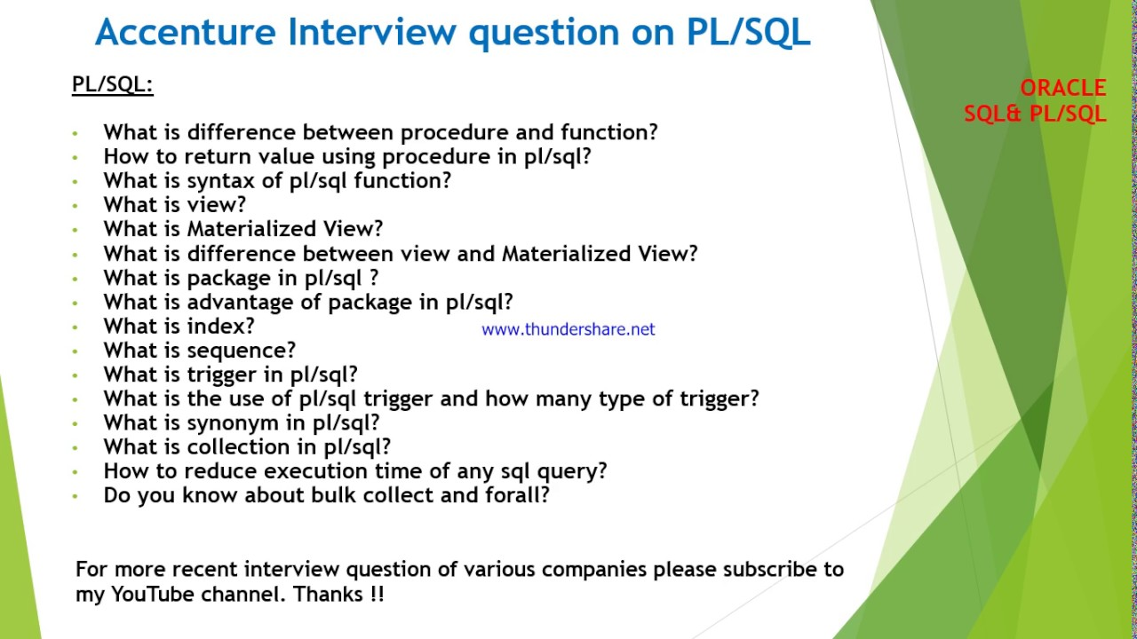 Accenture Interview Questions And Answers On Plsql