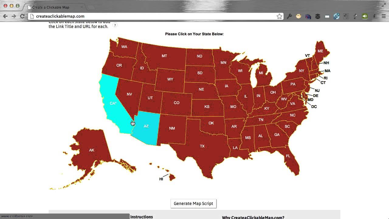 Create Color Coded Us Map.Create A Clickable Html5 Us Map In Minutes Youtube
