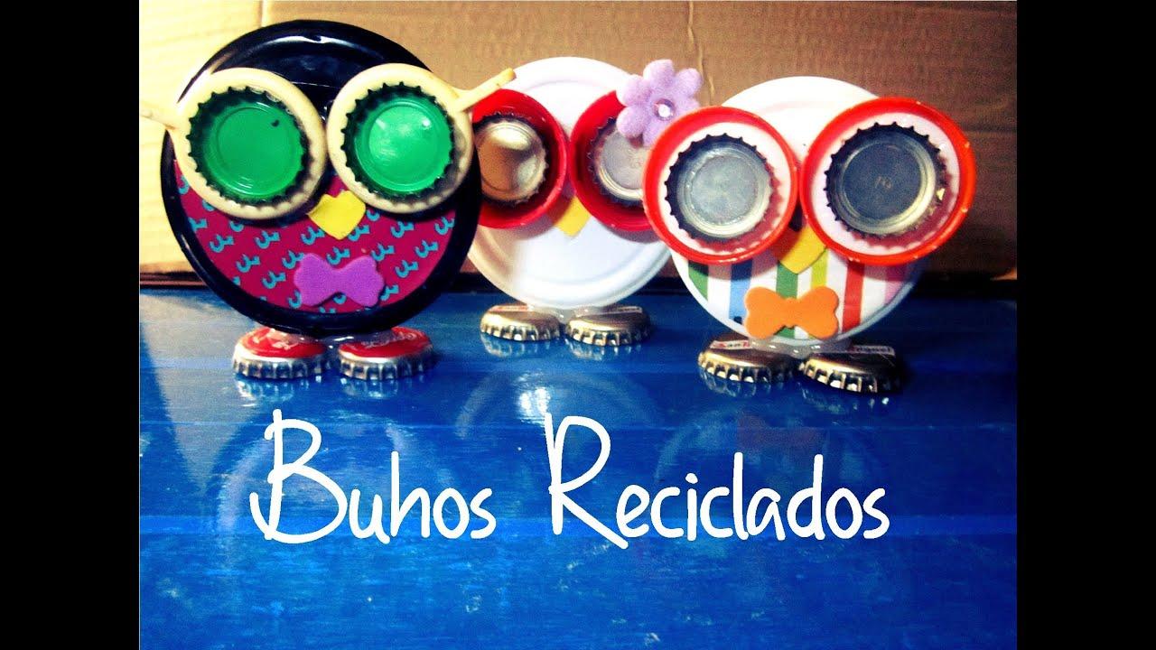 Buhos reciclados manualidad 65 youtube - Decoracion con buhos ...