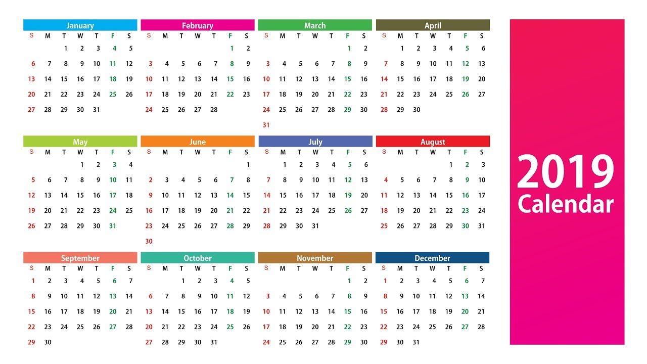 new year 2019 calendar design download vector