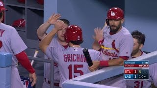 STL@LAD: Grichuk scores from second on a wild pitch
