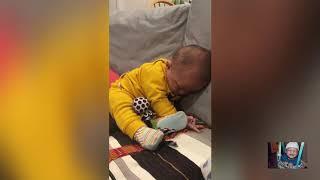Funny babies falling asleep
