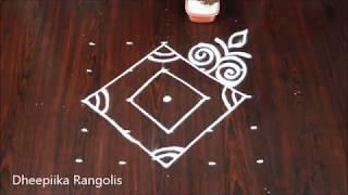 Easy rangoli design with 5 dots for beginners l new muggulu designs l latest kolams