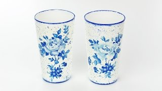 Decoupage glass - painted glasses diy - decoupage on glass tutorial - Decoupage for beginners