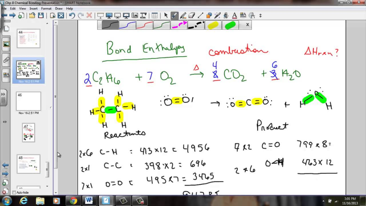 Bond Enthalpy Calculation Examples - YouTube