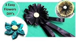 Diy Flower making   How to make Stunning flower out of ribbon and cloth