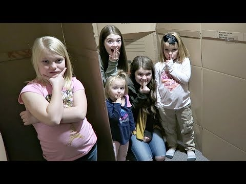 SARDINES IN A HUGE BOX FORT MAZE! | HIDE AND SEEK