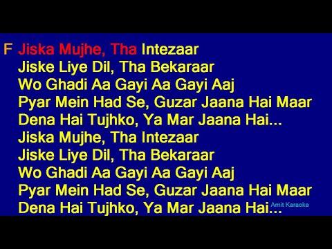Jiska Mujhe Tha Intezaar - Kishore Kumar Lata Mangeshkar Duet Hindi Full Karaoke with Lyrics