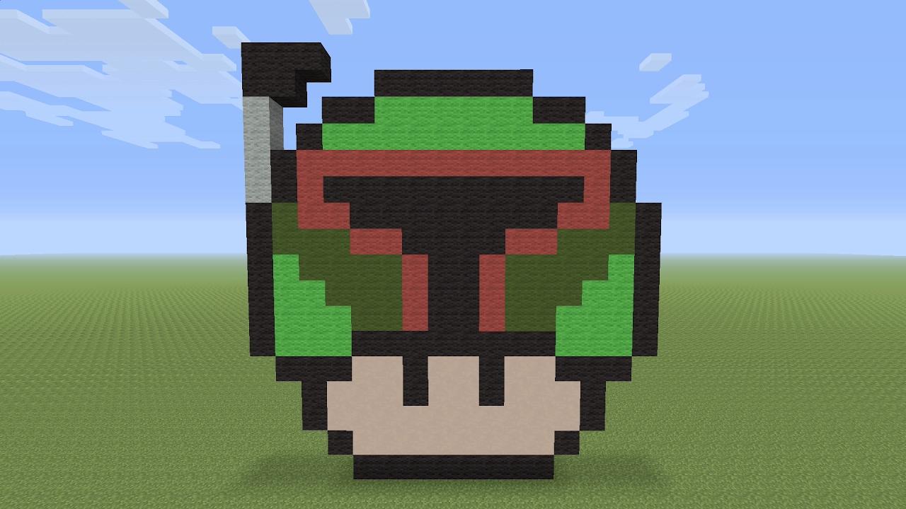 Minecraft Pixel Art Boba Fett Mushroom Youtube