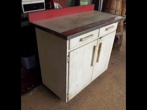 DIY Refinishing a junked Retro 1950's Wooden Vintage Cabinet
